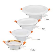 Светодиодный светильник 3 Вт, 5 Вт, 9 Вт, 12 Вт, 20 Вт, Круглый встраиваемый светильник, точечный светодиодный светильник, AC 220 В, 230 В, потолочный светильник, внутренний Светодиодный точечный светильник для кухни