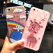 ФОТО bling liquid quicksand cases for iphone 7 case glitter dynamic cartoon animals phone cover for iphone 7 8 6 6s plus coque capa
