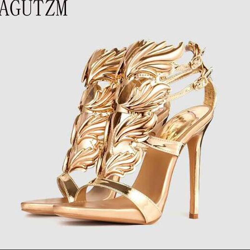 AGUTZM women high heel sandals gold leaf flame gladiator sandal shoes party dress shoe woman patent leather high heels V128 hot sell women high heel sandals gold gladiator sandal shoes party dress shoe woman patent leather high heels 5186 11a