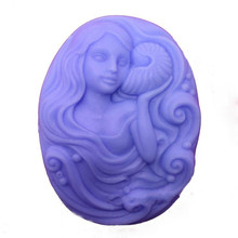 Food Grade Silicone Soap Making Mold Oval Girl Carved Flower Pattern Hand Made