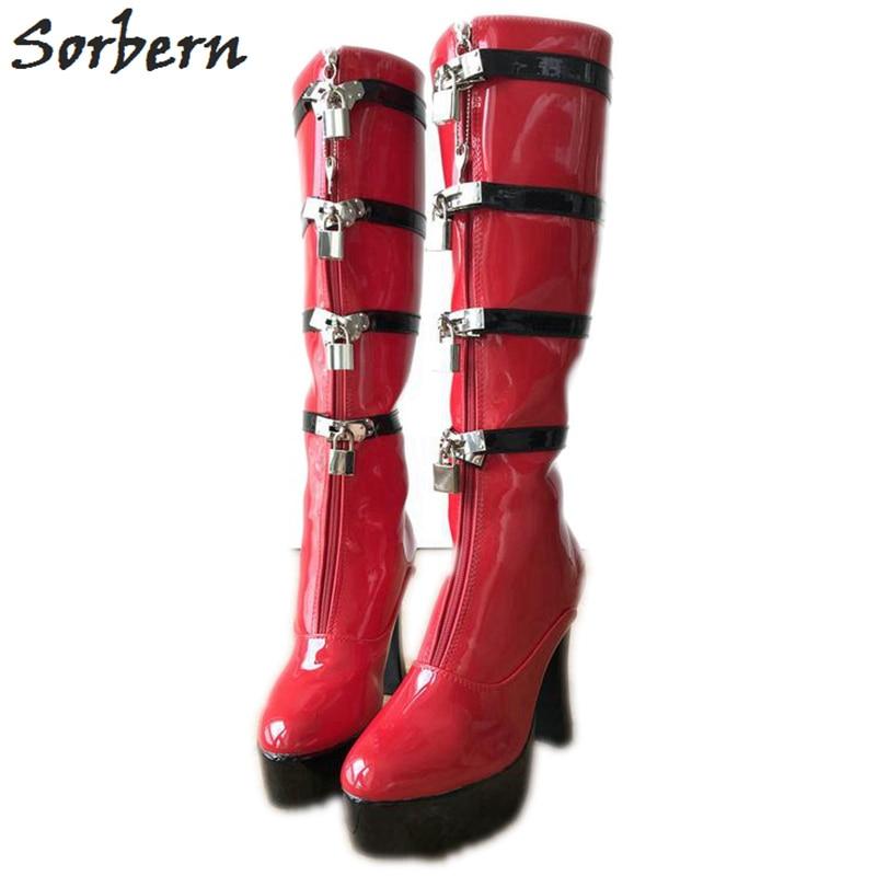 Sorbern Black And Red Knee High Boots Women Lockable Zipper Strap Block Heels Platform Shoe Ladies Booties Custom Wide Fit Shoe