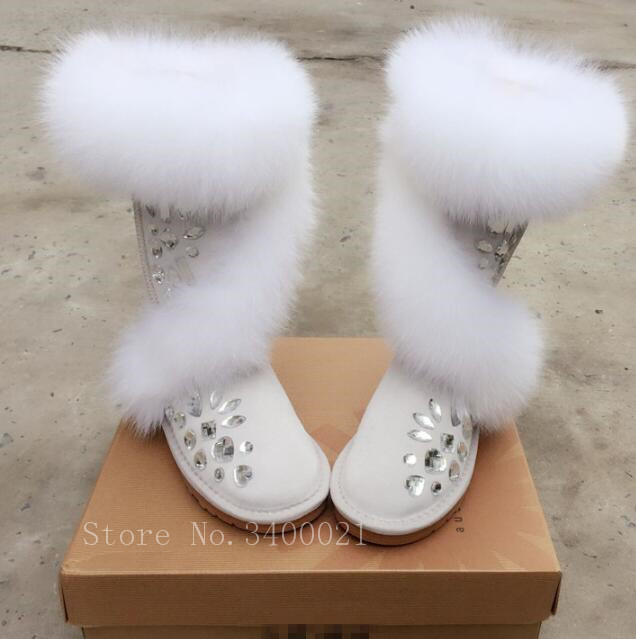 White Fur Warm Winter Snow Boots Women Boots Knee High Top Quality Flats Fur Round Toe Shoes Woman Large Size 35-43 недорго, оригинальная цена