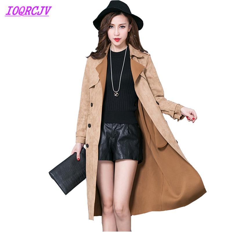 Plus size 6XL Spring Autumn Women Buckskin Suede Windbreaker Coats Fashion Solid color Belt Slim Female   Trench   Coat IOQRCJV Q098