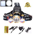 LED focusable Headlights Headlamp 10000Lm CREE XML T6 LED Head Lamp light 4-mode torch Camping + battery + AC Car USB charger