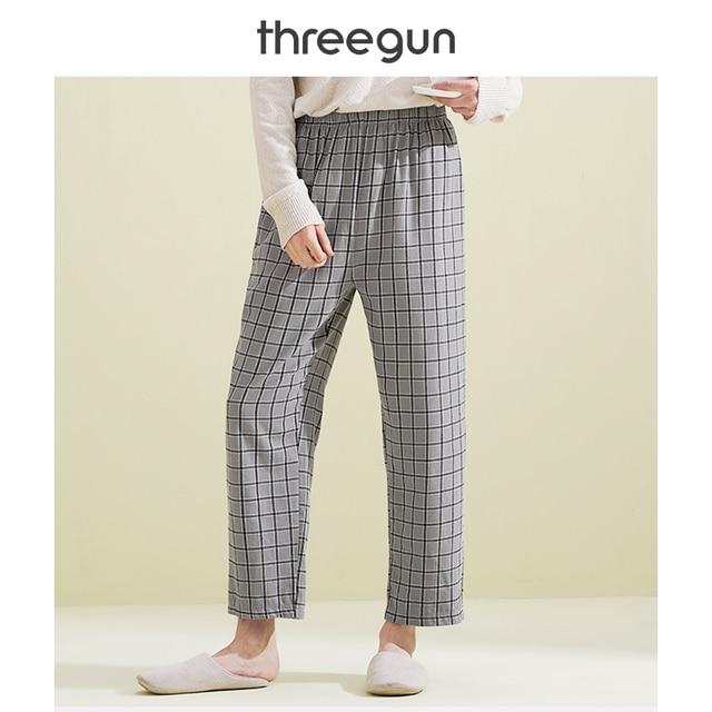 THREEGUN Hot Sale Mens 100% Cotton Casual Sleep Bottoms Plaid Sleepwear Pants Pijamas for Male Homewear Plus Size Pyjama Trouser