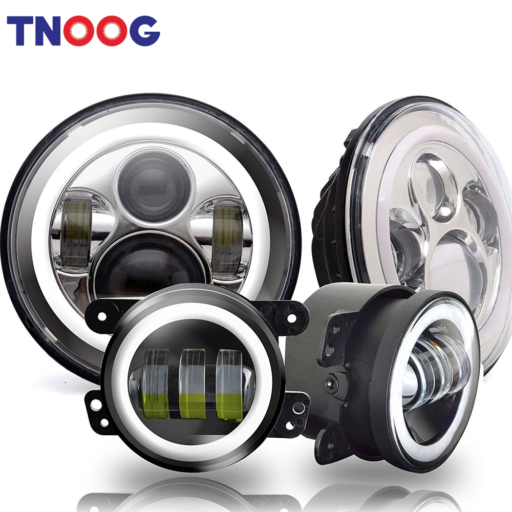 7inch LED Headlights with White DRL/Amber Turn Signal + 4 inch LED Fog Lights with White DRL for Jeep Wrangler 97-2017 JK LJ Tj