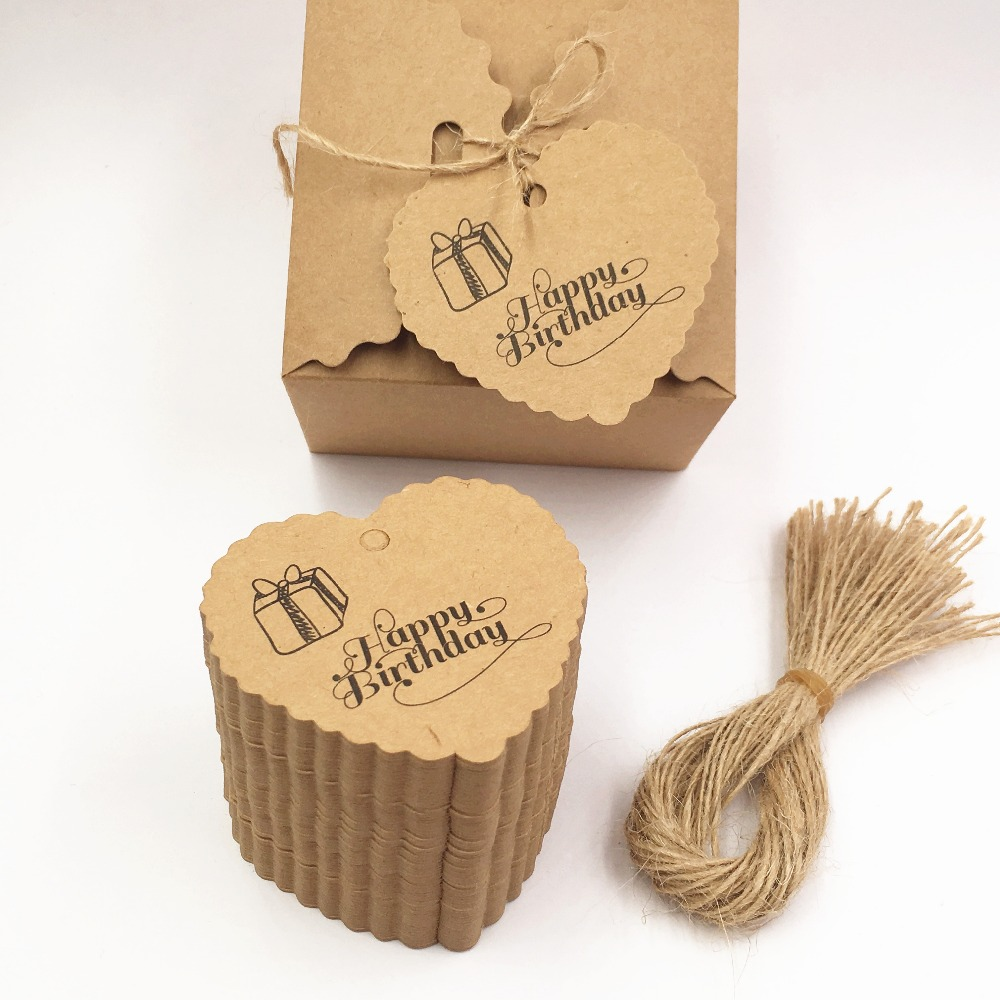 200pcs/lot 65x60mm Brown Heart Design Kraft Paper Tags Luggage Price Favor Place Cards Escort Cards Table Tags+200pcs strings