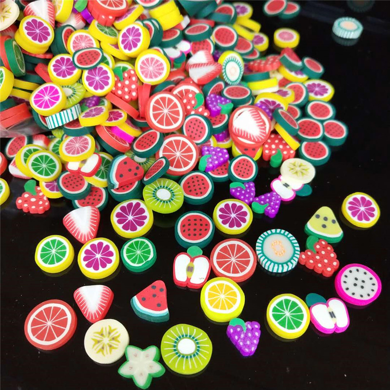 100pcs/lot 1cm Fruits Polymer Hot Soft Clay Sprinkles Plastic Klei Mud Particles Watermelon Strawberry Pitaya Lemon Grape Apple