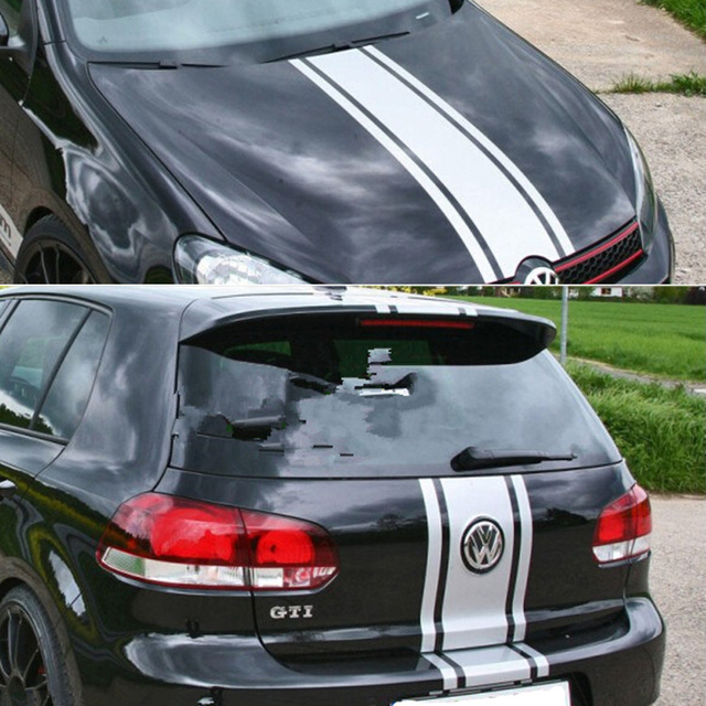 Car Racing Rally Stripes 13 Hood Roof Trunk Decals For Gti Vinyl Sticker Zc938 White