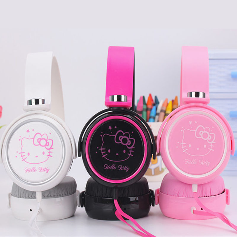 Cute hello kitty Cartoon earphone headset headphones for Mobile Phone MP3/MP4/Computer for iphone samsung xiaomi earphones 3.5m cartoon hello kitty headphones gifts to children 3 5mm headset earhook earphone for mp3 player computer mobiletelephone earphone