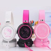 Bonito dos desenhos animados olá kitty fone de ouvido fone de ouvido fones de ouvido para o telefone móvel mp3/mp4/computador para iphone samsung xiaomi fones de ouvido 3.5 m