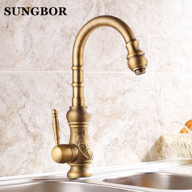 360 Degree Rotaty Kitchen Faucet Antique Brass Deck Mounted Single Handle Bathroom Faucet Hot and Cold Water Mixer Taps CF-9136F flg bathroom faucet antique brass all copper double handle 360 degree rotating deck mounted cold hot sink mixer water tap 10703