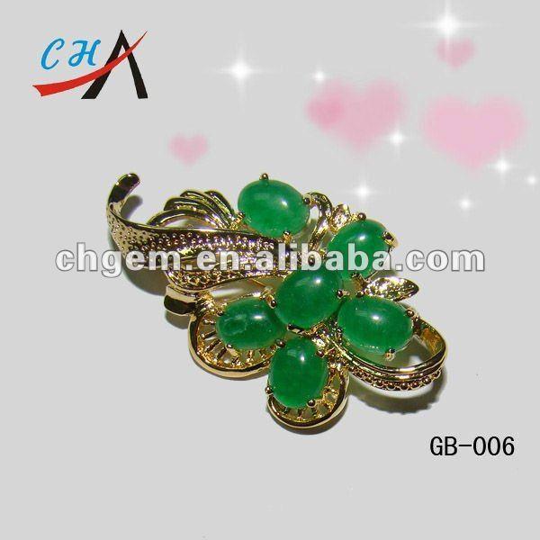 fashion gemstone jade  brooch