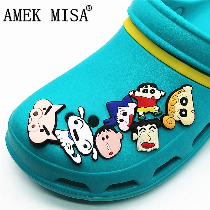 14 Pcs/Set PVC Cartoon Shoe Decorations Crayon Shinchan Garden Shoe CROC Charm Accessories For JIBZ/ Wristbands Kids Party Xmas