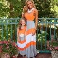 Moda vestidos de gran tamaño de la familia de madre e hija a juego vestidos de ropa de la familia de la familia mirada de la muchacha madre mommy and me trajes