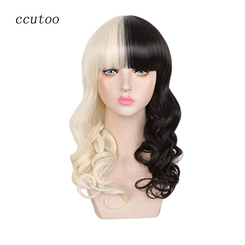 ccutoo 22 Half Black and Blonde Wavy Long Synthetic Hair Cosplay Full Wigs Melanie Martinez