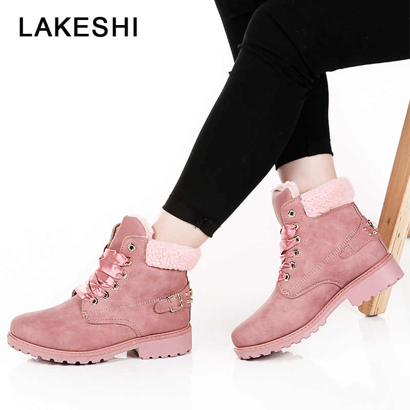 00f9f4aa3500d ... New Pink Women Boots Lace up Casual Ankle Boots Round Toe PU Women  Shoes winter warm ...