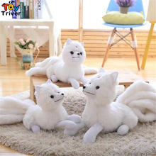 Plush White Nine Tails Fox Toy Stuffed Nine-Tailed Fox Kyuubi Kitsune Doll Creative Gift Home Shop Decoration Triver