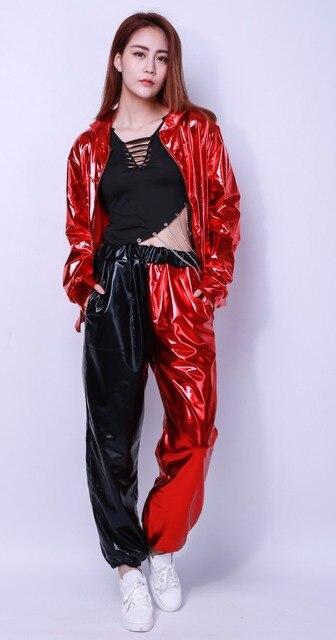 2017子供大人の春にスプライシングジャズ緩いユニセックススウェットパンツスラックスジョガーパンツ衣装ハーレム薄い赤黒光沢のあるパッチワークヒップホップダンスパンツ