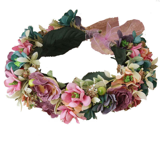 Multicolor floral Headwear Vintage Nature Berries Flower Crown with Adjustable Ribbon for Wedding Festivals Party Flower Wreath