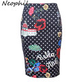 Neophil Black White Polka Dots Graffiti Cópia Floral Sexy Midi Saias lápis Saias Das Mulheres Envoltório 2016 Dolly Alta Cintura Fina S07045