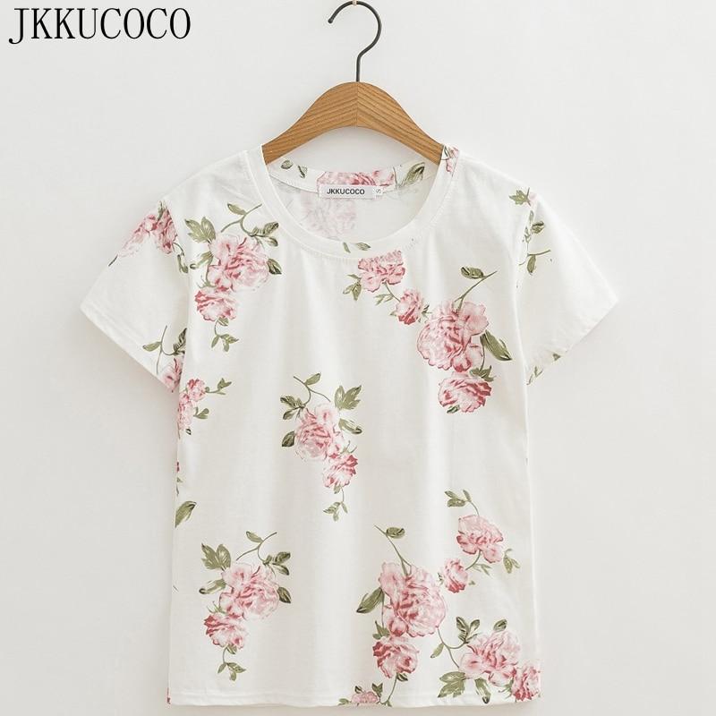 JKKUCOCO Newest style nice Print Pink Flowers T-shirt Women t shirt Short Sleeve O-neck Summer t-shirt Women tops hot tee XS-XL