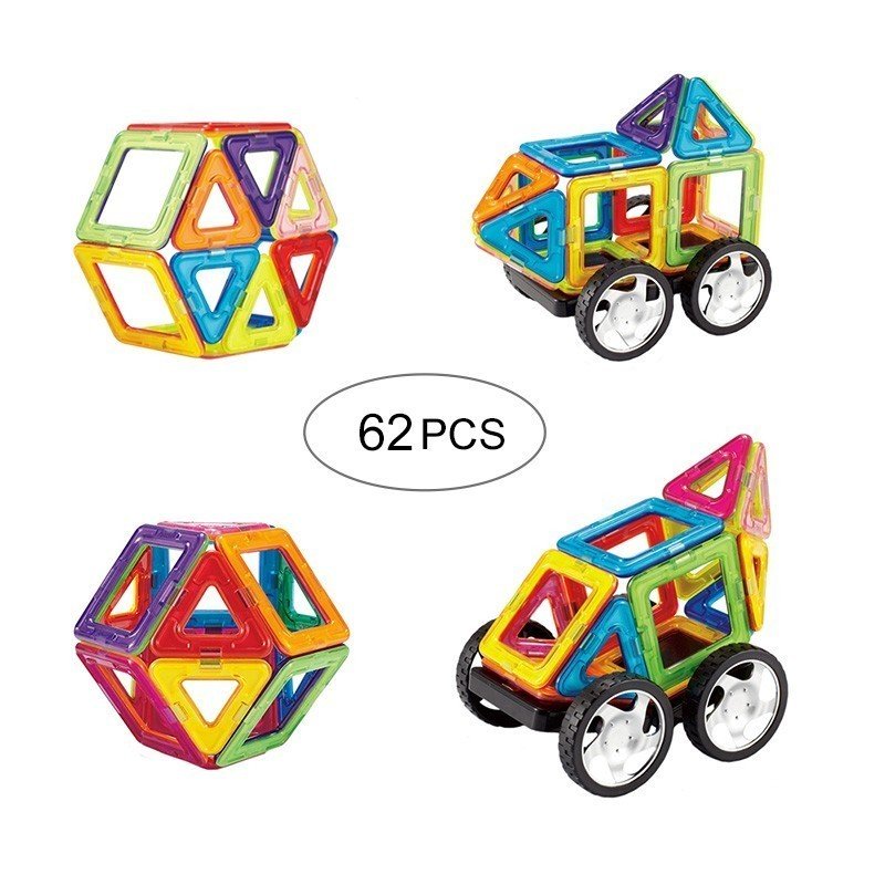 62PCS Magnetic Blocks Magnet Toys Building Construction Designer Bricks Educational Toy For Kids Gift Standard Size kids magnetic building blocks toys for children construction toy diy designer educational funny bricks toys magnet model kits