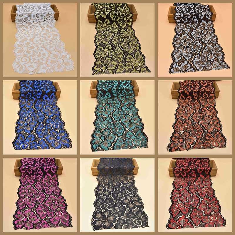 1Yard hoge kwaliteit Stretch elastische kant lint 18cm breedte katoen Wit kant Trim geborduurde nigeriaanse afrikaanse kant stof naaien