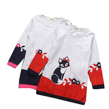 Toddler Baby Girl Clothing  T-Shirt Kid Autumn cotton Clothes fox Long Sleeve o-neck cute long T-Shirt 3-7Y 2017 new