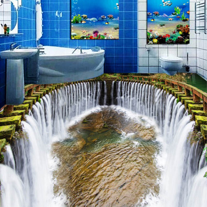 Custom 3D Stereo Floor Wallpaper Round Waterfalls Pool Self-adhesive Wall Mural Photo Wallpaper Waterproof For Bathroom Floor