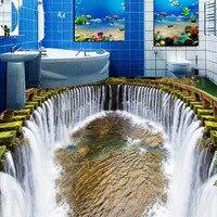 Custom 3D Stereo Floor Wallpaper Round Waterfalls Pool Self adhesive Wall Mural Photo Wallpaper Waterproof For Bathroom Floor