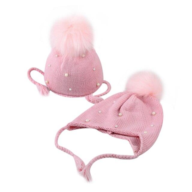 Новые детские шляпа Зима Весна теплый жемчуг вязаные шапки шапочки для детей Обувь для девочек Обувь для мальчиков милые pom крючком Шапки Earflap капот