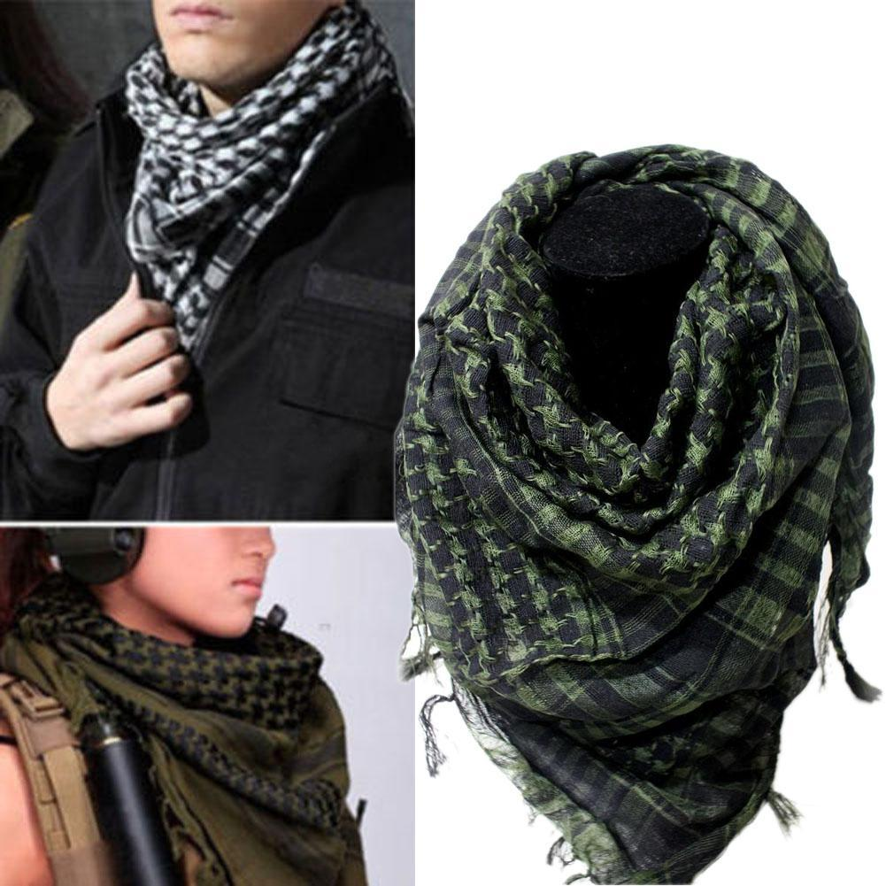 Military Windproof Winter   Scarf   Men Muslim Hijab Thin Shemagh Tactical Shawl Arabic Keffiyeh   Scarves   Cotton Fashion Green