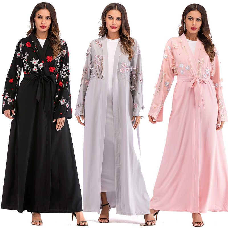 6e1452dba Plus Size Abaya Dubai Floral Mesh Kimono Long Mujer 2018 Kawaii Boho Muslim  Hijab Cardigan Robe