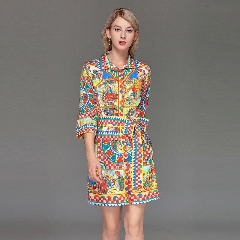 Women Three quarter sleeves belt dress New 2019 spring summer runway fashion print  Shirt D787