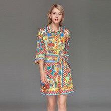 Women Three quarter sleeves belt dress New 2019 spring summer runway fashion print  Shirt dress D787 недорого