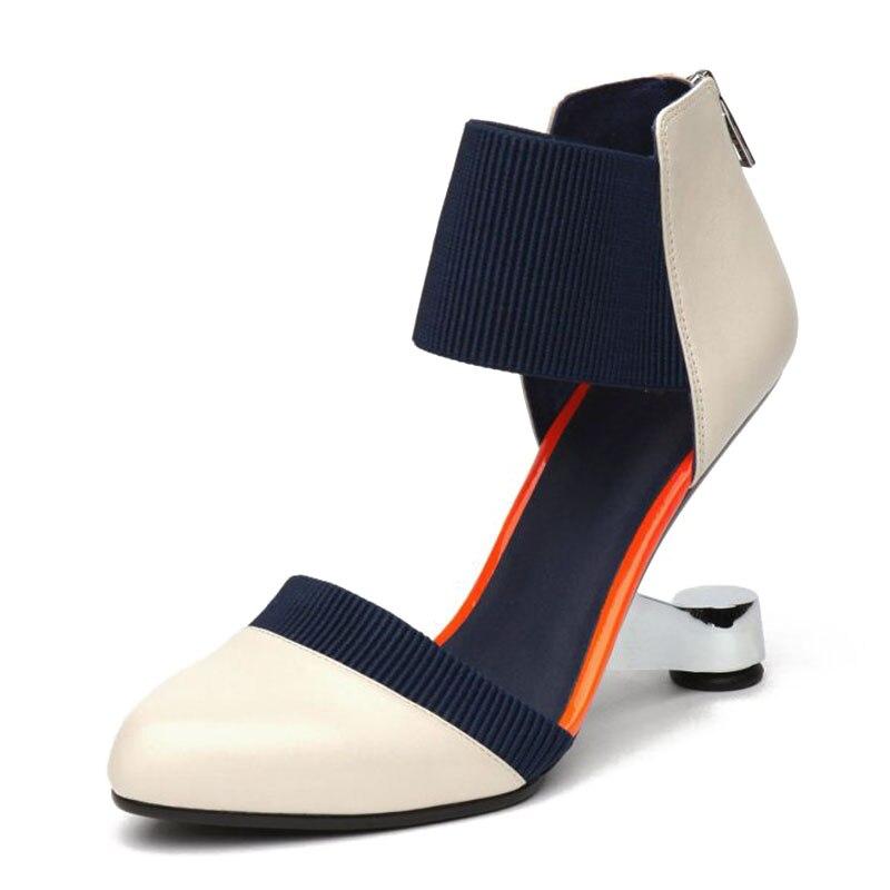 Pie Dedo Pasarela Moda Sexy Tacón Zapatos Cuero Calzado Club Fiesta Del 34 2019 gun Puntiagudo Extraño Tamaño Mujeres Genuino Color De Coolcept Negro 39 En marfil Las 85wUz6q