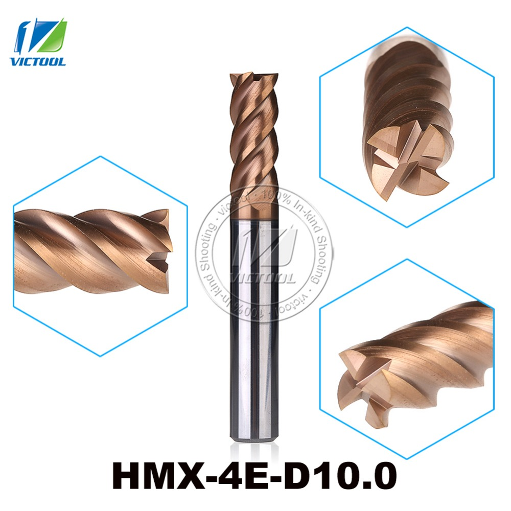 HMX-4E-D10.0 High Speed Cutting And Try Cutting 4-Flute Flattened End Mills Milling Cutter End Mills Straight Shank Tool zcc ct hm hmx 6el d16 0 solid carbide 6 flute flattened end mills with straight shank and long cutting edge