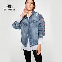 Women Jean Jackets 2017 Autumn Winter Denim Jacket Ripped Denim Coat For Lace Up Sleeves Jackets