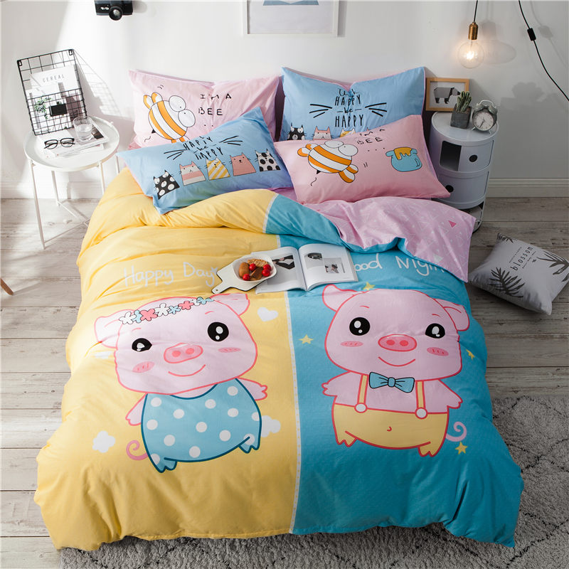 Papa Mima Cartoon style bedding set 3 or 4pcs 100 Cotton twin Full Queen size Cute