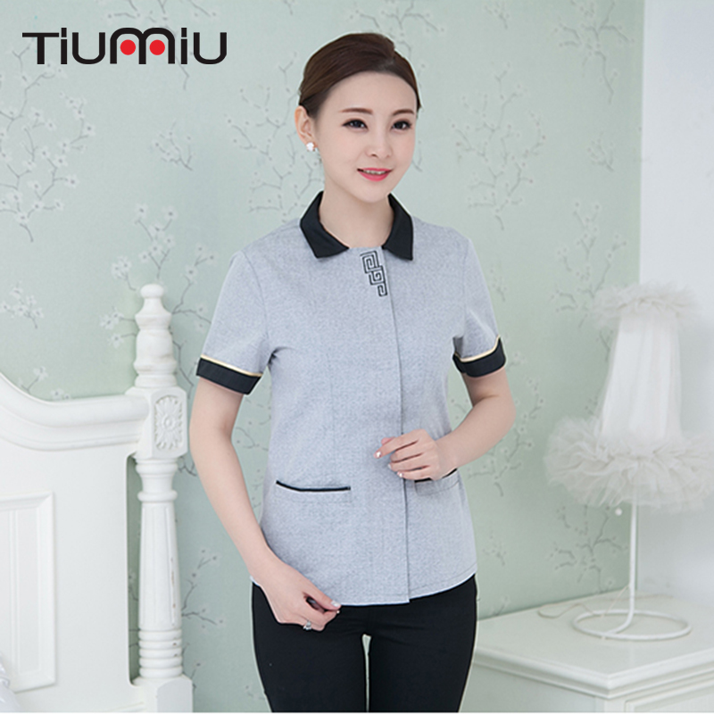 2018 New Summer Cleaning Clean Short Sleeves Working Uniforms Traditional Cleaning Waiter Men And Women Cleaning Service Uniform