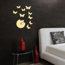 DIY Wall Clock 3D Fashion Home Stickers Hours Modern Art Butterfly Decor FG