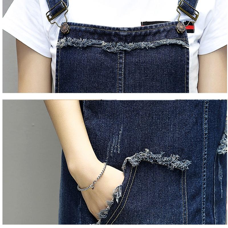 7f8585b877 US $24.5 35% OFF|2018 Plus Size New Spring Summer Women dress Fertilizer  Added Fat Long Denim Straps Dresses Blue L0689-in Dresses from Women's ...