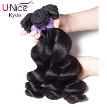 UNice Hair Kysiss Series 8A Indian Virgin Hair Loose Wave 100% Human Hair Weave 3 Bundles Natural Color Human Hair Weave(China)