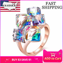 50% off Ladies Fashion Blue Engagement Rings Luxury Joyas Vintage Cristales Stone Sapphire Ring Anneaux Pour Les Femmes GR123