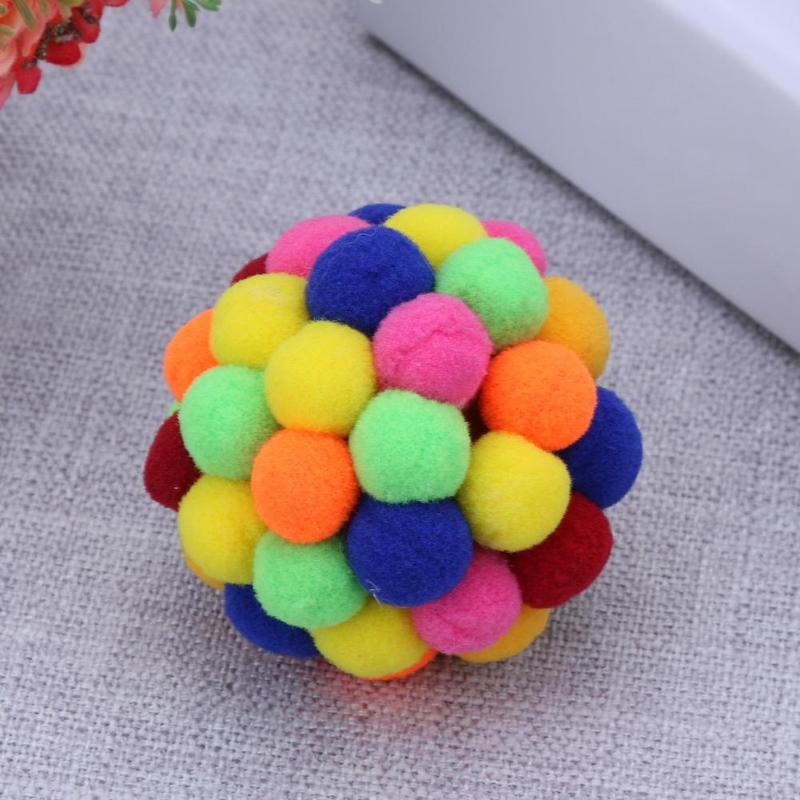 Pet Cat Toy Colorful Lovely Handmade Bells Bouncy Ball Built In Catnip Interactive Toy Great for