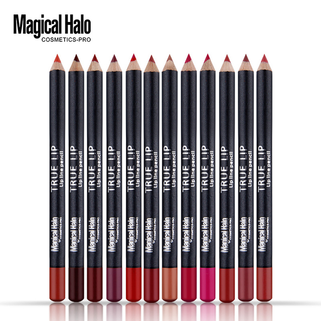 Magical Halo 12pcs/set Professional Waterproof Bright Pencil Lip Liner Pencil For Lips Long Lasting Lipliner Pen Makeup Cosmetic