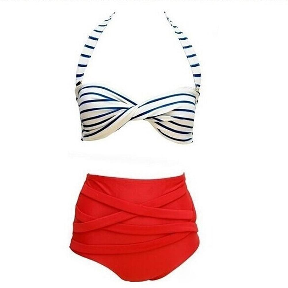 1 stücke Sommer Sexy Rockabilly Vintage Hohe Taille Bikini Badeanzug Bademode Rot + Weiß