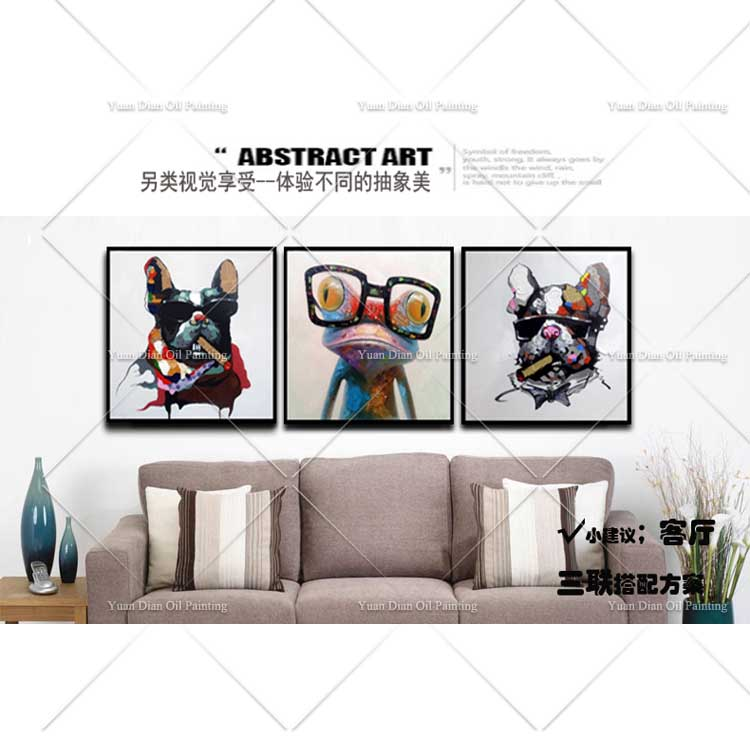 New Unframe Frog Smoking Dog Monkey Wall Pictures Brush Painting Oil Painting Hand Painted On Canvas Cartoon Animal Oil Painting in Painting Calligraphy from Home Garden