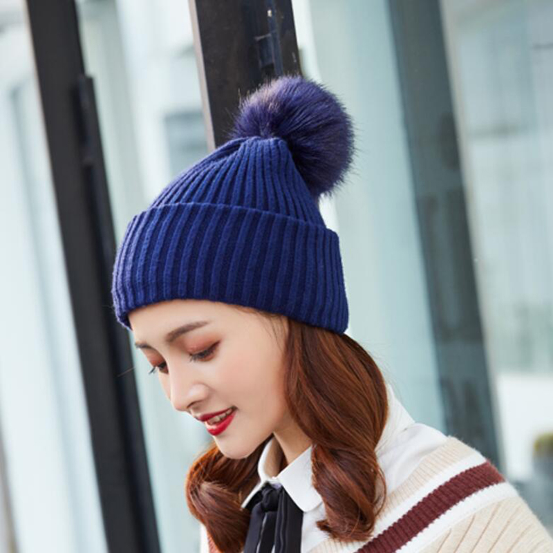 Autumn winter beanies hat for women knitted wool Skullies casual cap with raccoon fox fur pompom solid colors ski gorros cap